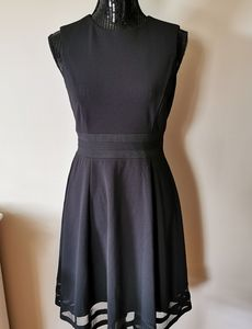 Calvin Klein Black Mesh Fit & Flare Dress Size 6